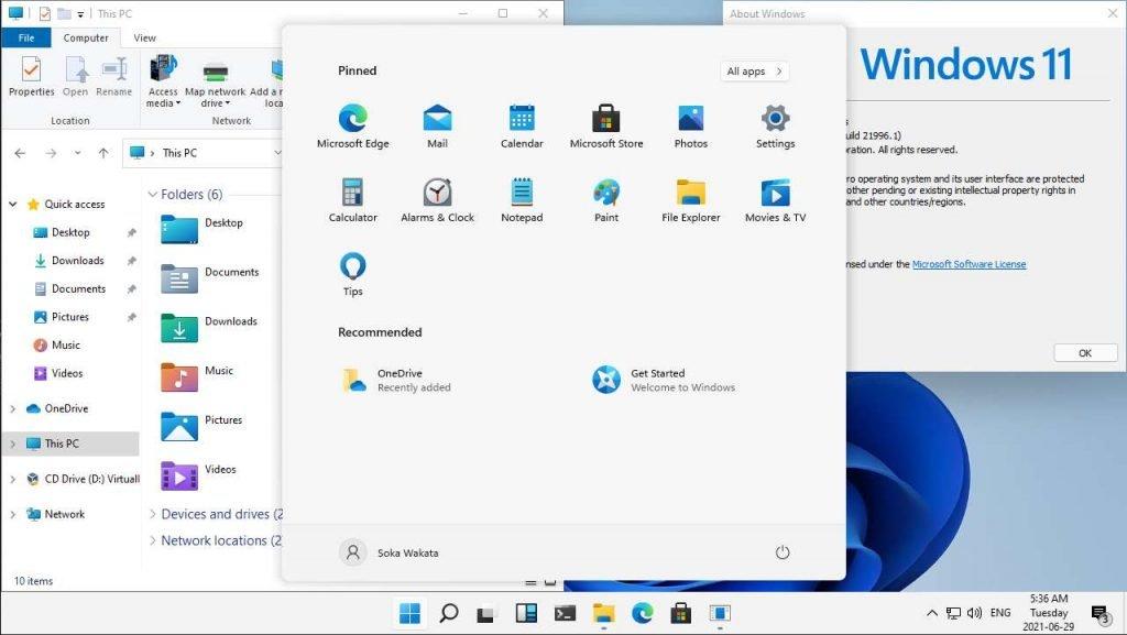 Aperçu des fenêtres et du nouveau Menu Démarrer de Microsoft Windows 11
