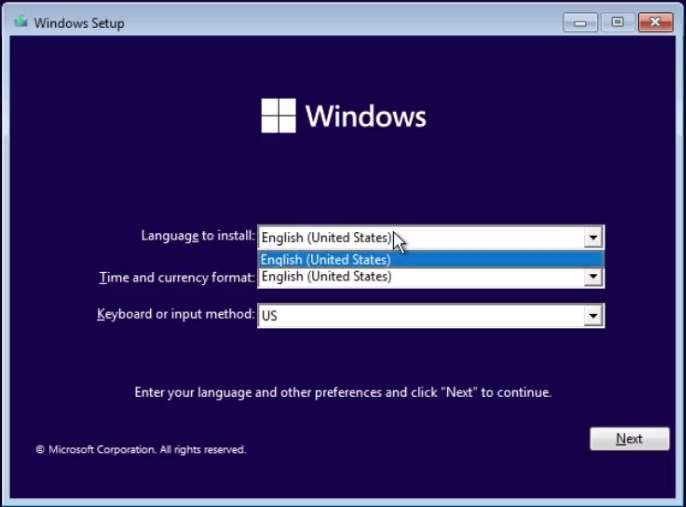 Microsoft Windows 11 Dev ne propose pas de Français comme langue d'installation